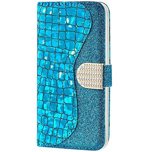 Vepbk pour Huawei P20 Lite [Pas pour P20] Coque, Etui Case Coque Paillette Housse Cover Étui Portefeuille Cuir Flip Case avec Magnétique Porte Carte Support Elegante Coque pour Huawei P20 Lite,Bleu