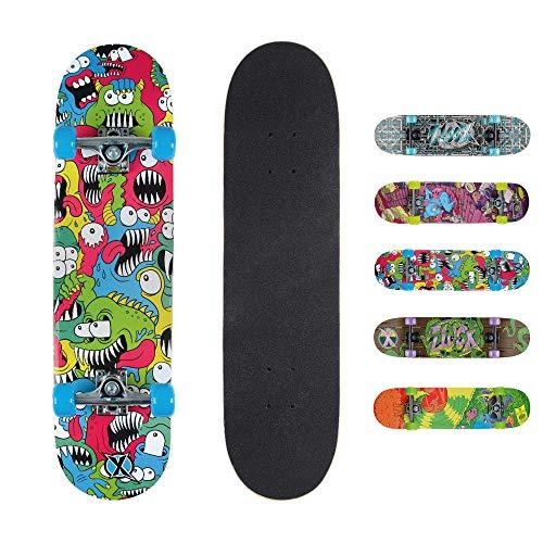 Xootz Kinder-Skateboard für Absolute Anfänger Double-Kick-Trick –Ahorndeck, 78,7x 20,3cm, Kinder, Chomper Complete Beginners Double Kick Trick Skateboard, Chomper