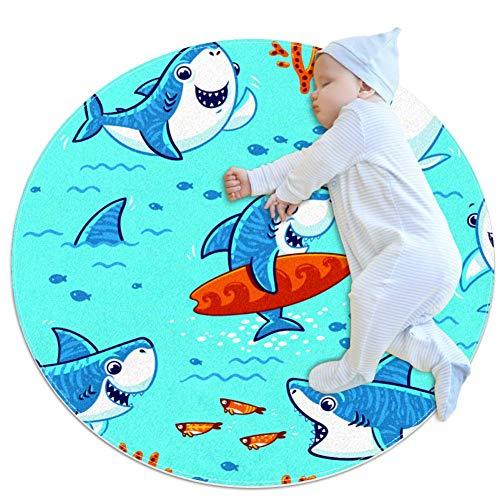 rdsworth Toby Leuke Cartoon Haaien Kleuterschool tapijt cirkel kinderen tapijt cirkel kinderen spelen mat baby jongen meisje zacht tapijt gebied tapijt, 27.6x27.6IN