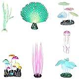 tellaLuna Kelp luminoso, anémona de mar, coral de imitación, medusas, hoja de loto, hongos para acuario acuario peces decoración luminosa