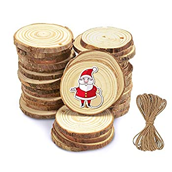 Flame Natural Wood Slices - 36 Pcs 2.0 -2.4 Craft Unfinished Wood kit Predrilled with Hole Wooden Circles for Arts Wood Slices Christmas Ornaments DIY Crafts