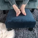 Adeco Small Ottoman – Footstool/Footrest - Geometric Art – Cuboid & Cylinder, 17.5x17.5x9 (Sapphire Blue, Soft Fabric)