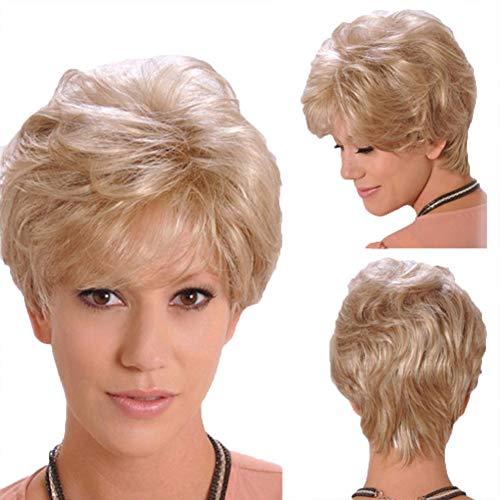 Perruque Dame Cheveux Courts Moelleux Cheveux Bouclés Blonds Courts Fibre Chimique En Soie Haute Température Coiffures Fête Quotidienne De Loisirs Et De Divertissement