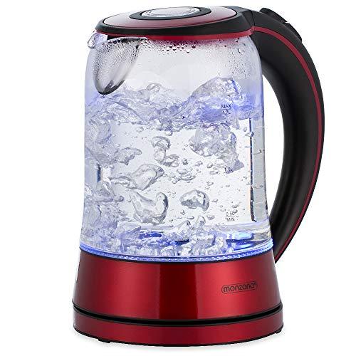 monzana Wasserkocher Edelstahl Teekocher Glas I LED I BPA frei I 1,7 L I kabellos I 2200W rot/schwarz I Überhitzungsschutz I Wasserstandsanzeige