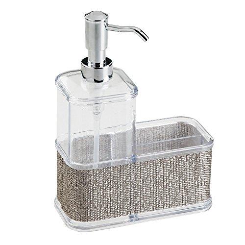 InterDesign Twillo rangement évier - grand distributeur de savon en plastique - distributeur savon avec compartiment - argenté