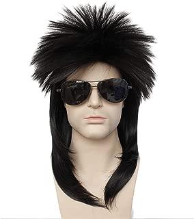 Anogol Hair Cap + 80s Men's Retro Classic Fashion Metal Rock Punk Party Wig Metal Rocker Black Hair Wigs
