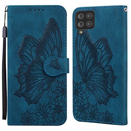 JRIANY Hülle für Samsung Galaxy A12 Lederhülle Brieftasche Handyhülle mit Schmetterling Blume Muster PU Leder Tasche Hülle Klapphüllen Standfunktion Magnetverschluss Stoßfest Schutzhülle, Blau