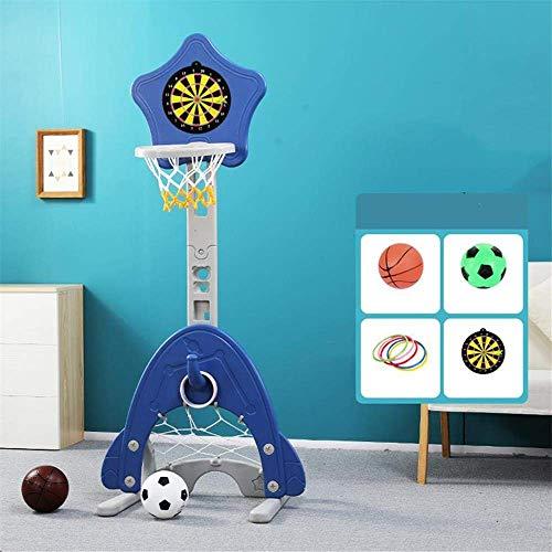 Giow 4 in 1 canestro da Basket per Bambini, Altezza Regolabile 125-165 cm con Freccette, Supporto da Basket Multifunzione per Bambini da Calcio, 2 Colori opzionali