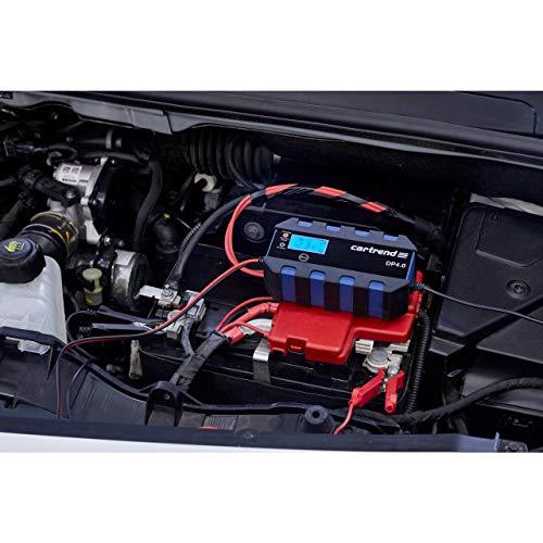 Cartrend 10620 Mikroprozessor-Batterieladegerät DP 4.0, 4 A, 6/12 V, 9-stufig, mit Autostart-Funktion nach Netzausfall und LCD-Display, 4A