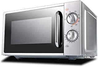 750W Solo Microwave Oven 20L-stainless Steel, Barbecue Power 850W, Mechanical Knob Side Sliding Door DesignSilver