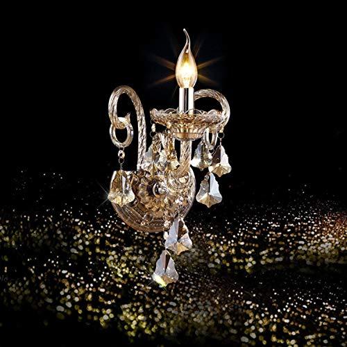 UWY Moderno K9 Crystal Glass Style Decorativo Crystal Wall Lights Lámpara de Pared de cabecera Aplique para decoración del hogar con zócalo E14? ¿No Contiene Bombillas ?, a
