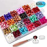 600PCS Sealing Wax Beads Packed in Plastic Box, with 2PCS Tea Candles and 1 PC Wax Melting Spoon for...