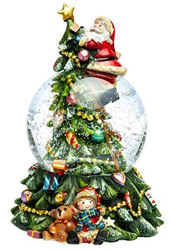 SIKORA SK17 Große Glas Schneekugel für Kinder Weihnachtsmann auf dem Weihnachtsbaum D:100mm mit aufziehbarer Spieldose \'O Tannenbaum\', Schneekugeln:Weihnachtsmann auf dem Weihnachtsbaum