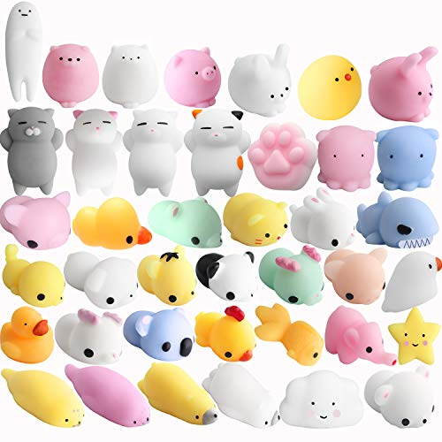 Mochi Squishy Cat Toy, Outee 32 Pcs Mochi Stress Toy Random Squishies Squeeze Toy Squishy Cat Relief Stress Squishy Toy Animals Mochi Squishies Squeeze Animals Kawaii Squishies