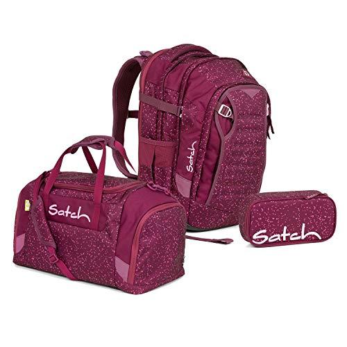 Satch Match Schulrucksack Set 3tlg. (SchlamperBox und Sporttasche) ( Berry Bash)