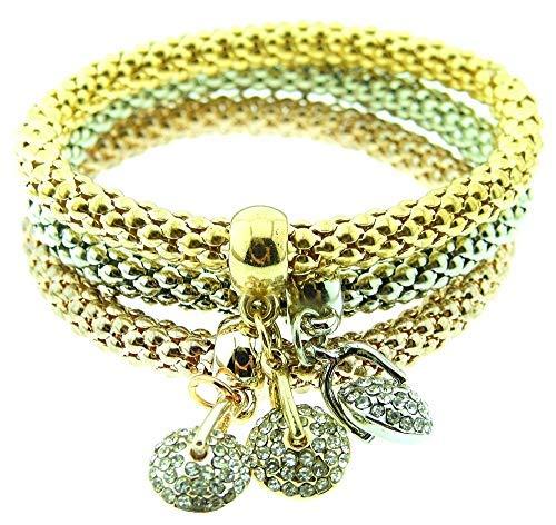 Inception Pro Infinite Tres pulseras de mujer – Charms – Pulseras – Chica – Colgantes – Elegante – Color oro bronce plata – Navidad – Cumpleaños – Idea regalo – Bisutería – Joyas – Moda