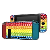 Dockable Case Compatible with Nintendo Switch Console and Joy-Con Controller, Patterned ( LGBT Gay love rainbow geometric pattern ) Protective Case Cover with Tempered Glass Screen