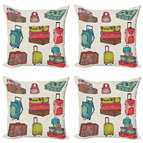 ABAKUHAUS Hipster Throw Pillow Cushion Case Pack of 4, Colorful Suitcases, Modern Accent Double-sided Digital Printing, 45 cm x 45 cm, Multicolor
