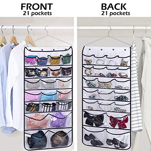 Misslo Hanging Closet Dual-Sided Organizers, 42 Pockets, 38.5 by 17.75-Inch