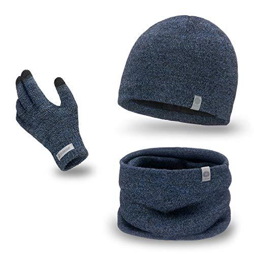 PaMaMi Herren Winter-Set 3-teilig (Handschuhe, Mütze, Loop-Schal) | Dunkelblauer Melange | 100{5ccb7d47597f9e19d7327df11c459e6c60ab82a53c9f061c4b8f45f249753d88} Acryl Handschuhe mit Touchscreen-Funktion, atmungsaktive Mütze und wärmender Loop-Schal in Strickoptik