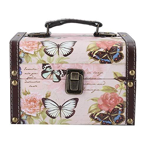 DAUERHAFT Joyero de la PU de la exhibición de la joyería, para los Juguetes(2202C Butterfly and Rose Jewelry Box)