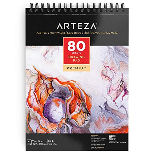 """Arteza 9""""X12"""" Drawing Pad, 80 Pages, Spiral Bound Artist Drawing Book, Durable Acid Free Sketch Paper (80lb/130g), for Kids & Adults"""