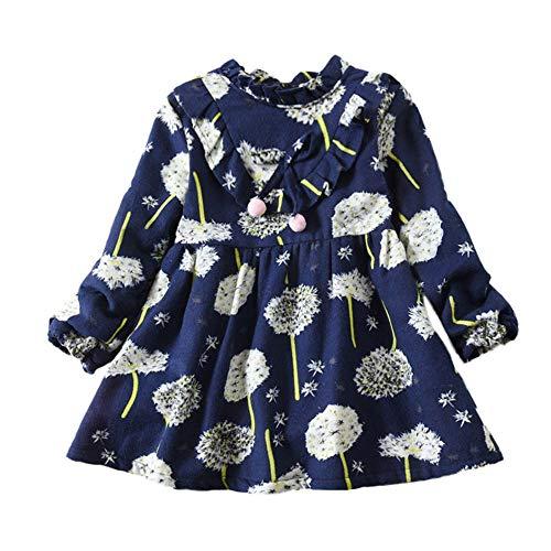 Hawkimin_Babybekleidung Hawkimin Baby Mädchen Lange Löwenzahn Hülsen Blumenblumen Druck Princess Kleid Outfits