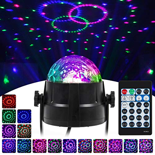 Disco Ball Lights LED Party Light 15 Colors Red Green Blue Pink Stage Lighting Effect Lamp for Room Dance Parties Birthday Karaoke Xmas (1 Pack)