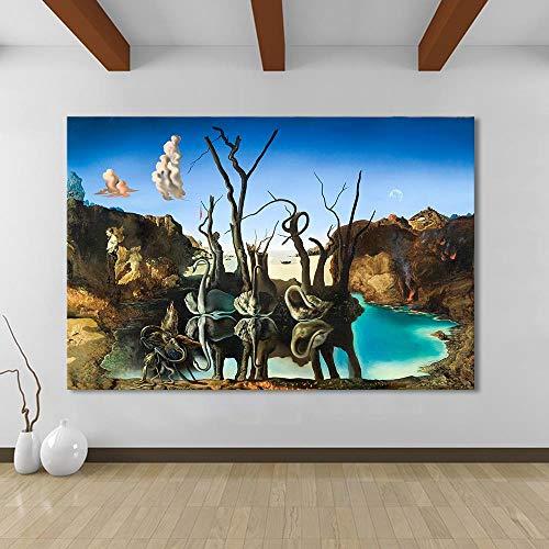 Toile Art Affiche Mur Salvador Dali Peinture À L'Huile Cygnes Reflétant Éléphants Mur Photos Pour Salon Décor À La Maison Sans Cadre 20x30 inch