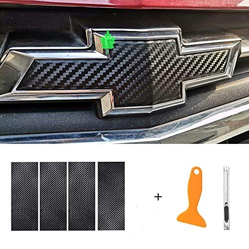 JIN for Chevy Emblem Sticker Logo Vinyl Wrap, Black Carbon Fiber Bowtie Pattern Cuttable Overlay, DIY Decals
