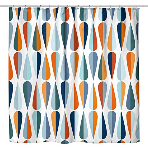 Kewwe Mid Century Shower Curtain Vintage Blue Orange Water Drop Shapes in Tones Abstract 60Wx72H Inch Modern Retro Classic Waterproof Polyester Fabric Bathroom Decorations with 12 Hooks