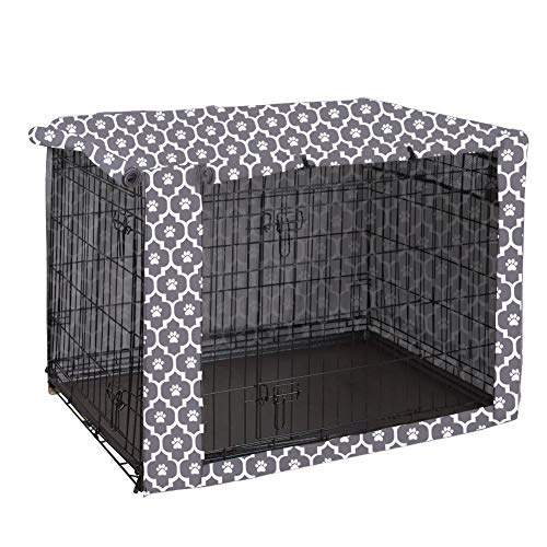 "Dog Crate Cover Durable Polyester Pet Kennel Cover Universal Fit for Wire Dog Crate - Fits Most 24"" inch Dog Crates - Cover only-Gray Soles-24 Covers Kennel"
