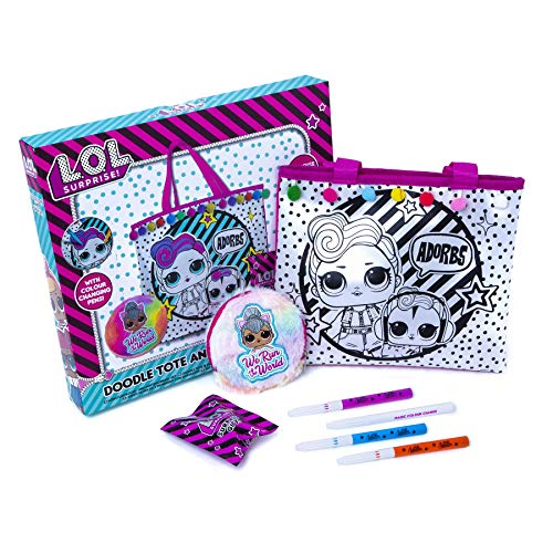 L.O.L. Surprise! Doodle Tote and Purse Set - Colour Your Own Tote Bags for Girls - Adorable Gift Bag for Kids with Colour Changing Pens, Pom Pom, and Surprise Gift - Birthday for Girl