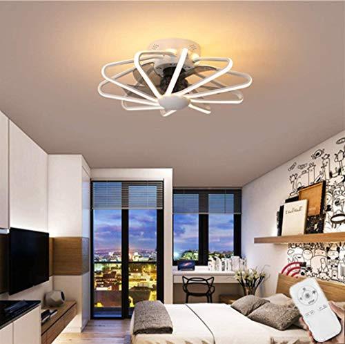 LLDS Fan Ceiling Light Lxn Luz Del Ventilador De Techo De Cristal Sala De Estar Control Remoto Invisible Ventilador De Techo Dormitorio Lámpara De Atenuación Silenciosa,Blanco