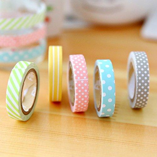 Mr.S Shop 5PCS/Set Candy Color Rainbow Striped Dots Washi Tape Set Decorative Scotch Tape Paper Label Sticker Tape