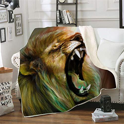 QQFENG Kuscheldecke Bedruckte Fleecedecke Brüllender Löwe 3D für Betten Dicke Steppdecke Tagesdecke Sherpa Decke Decke Erwachsene Kinder Büro Nap Decke 130 X 150 cm