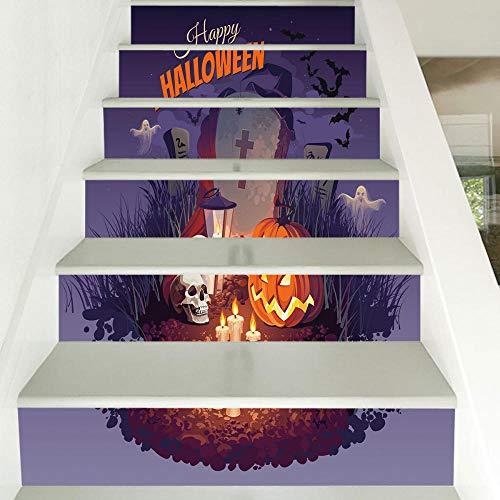 3D Türauf Kleber Tür Wandaufkleber Halloween Kürbis Licht Grabstein 6 Treppen Aufkleber 3D Home Decor Wandaufkleber