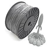 Reprapper Filamento PLA 1.75 3kg para Impresión 3D, PLA 1.75mm (± 0.03) para Impresora 3D, Gris