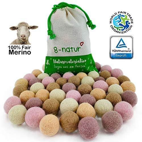 """8-Natur """"Mix Sanft"""" Bunte Mischung aus 50 Filzkugeln 2,2cm dick aus Reiner Merinowolle zum Basteln von Girlanden, Baby Mobile und Filzkugelteppich oder einfach nur zur Deko"""