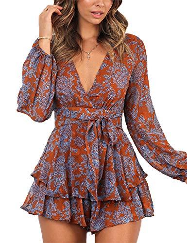 Relipop Women's Dresses Jumpsuit Floral Print V Neck Baggy Sleeve Waist Tie Double Layer Ruffle Hem Short Mini Dress Romper Orange