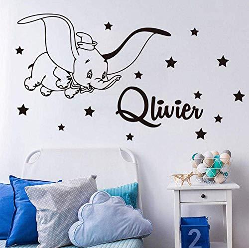 Cartoon Benutzerdefinierte Name Dumbo Stern Wandtattoo Kinderzimmer Schlafzimmer Personalisierte Name Dumbo Tier Wandaufkleber Kindergarten Vinyl Decor 76X42 Cm