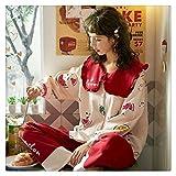 Otoño Invierno Mujer Pijamas Conjuntos De Mujer De Lujo Estampado De Flores Dos Piezas Camisas + Pantalones Camisas Suave Lindo Rosa Ropa De Dormir Ropa De Dormir Hogar (Color: Rosa 2, Talla XXXL)