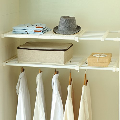 HyFanStr Adjustable Storage Rack Expandable Separator Shelf for Wardrobe, Cupboard, Bookcase Compartment Collecting (Length:13