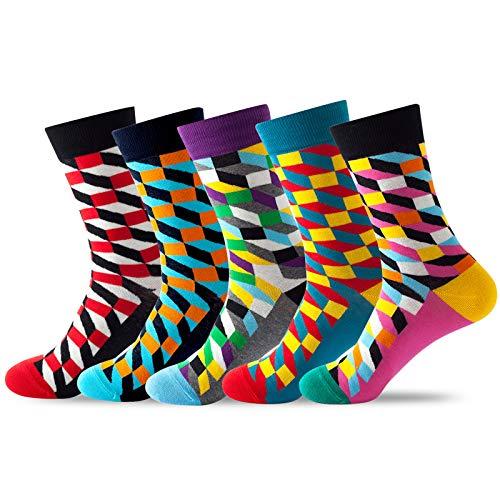 Bunte Socken, Lustige Baumwolle Farbige Socken, Damen und Herren Socken, Unisex Socken 5er Set, für 37-44 (Geometrische01)
