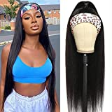 Headband Wigs Human Hair 22 Inch Straight Headband Wigs for Black Women Brazilian Virgin Human Hair Half Wig Straight Hair Headband Wig No Glue No Sew In More Hairstyles Available (22 Inch)