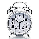 RUCON® Brass Vintage Twin Bell Table Top Alarm Clock with Night Led Light Display Alarm Clock for Bedroom Heavy Sleepers Kids and Students (Silver)