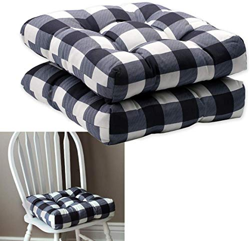 OVITTAC DiDiPai 2-Pack Kitchen Dining Chair Pad Reversible Seat Cushion for Indoor Use with Ties, Black White Buffalo Check Plaid