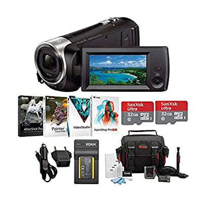 Sony HDR-CX405 1080p Full HD 60p Handycam Camcorder w/Two 32GB SD Cards & Li-ion Battery Bundle by Sony