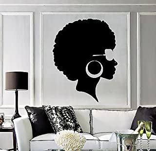 Vinyl Wall Decal Afro Hairstyle Black Lady Beauty Salon Stickers Mural (vs3803)