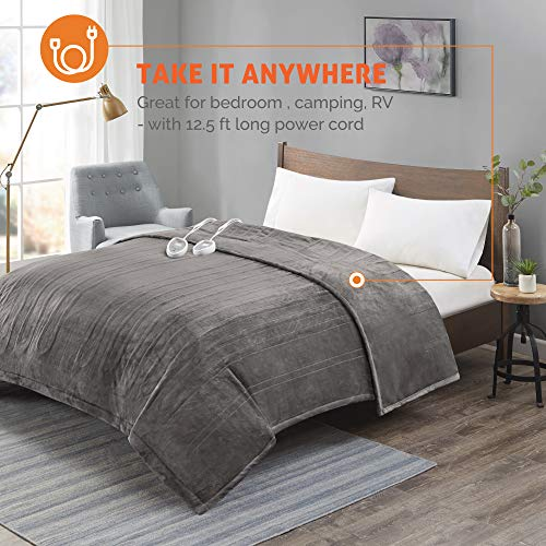 Degrees Of Comfort [Advanced] Micro Plush Electric Blanket King Size Dual Control W/ Auto Shut Off   Heating Blankets for Bed & Living Room   Machine Washable   UL Certified - King, Grey